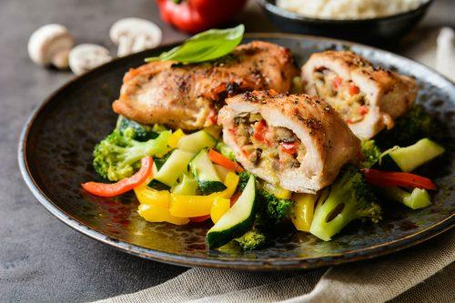 Rollitos de pollo rellenos